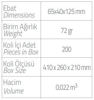 dispenser-250ml tekli dispenser ebatlar
